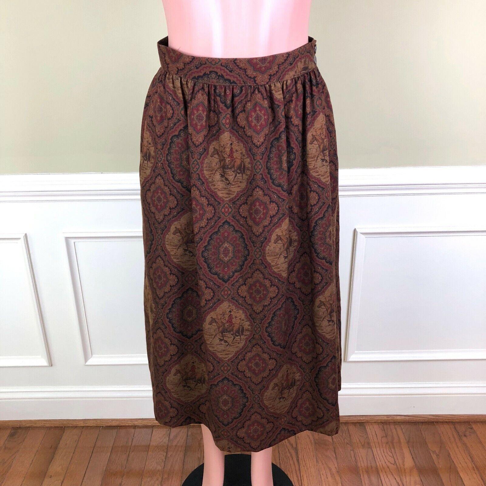 Vintage Brooks Bredhers Womens Skirt Horse Equestrian Fox Hunting Wool Size 10