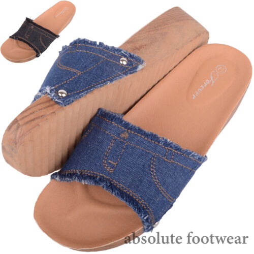 Ladies Shoes Summer Sandals Womens Denim Look Holiday Mules