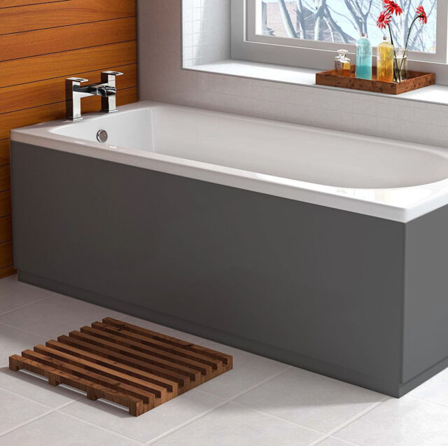 Gloss Anthracite Grey 1700 Bath Tub Front Panel Vertical Adjustable ...