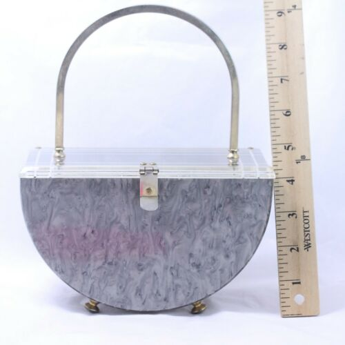 Vintage Marbled Gray Pearlescent Lucite Purse