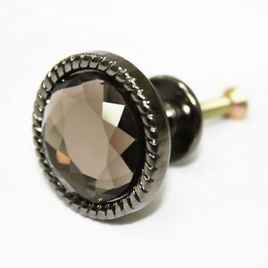 Black-Nickel-Metal-Glass-32-mm-Knob-Furniture-Cabinet-Drawer-Pulls-AAE-03
