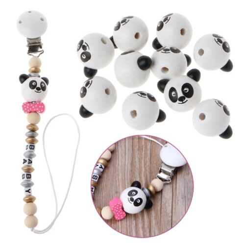 10Pcs 24mm Wooden Bear Head Teething Chew Beads For Baby DIY Pacifier Chain