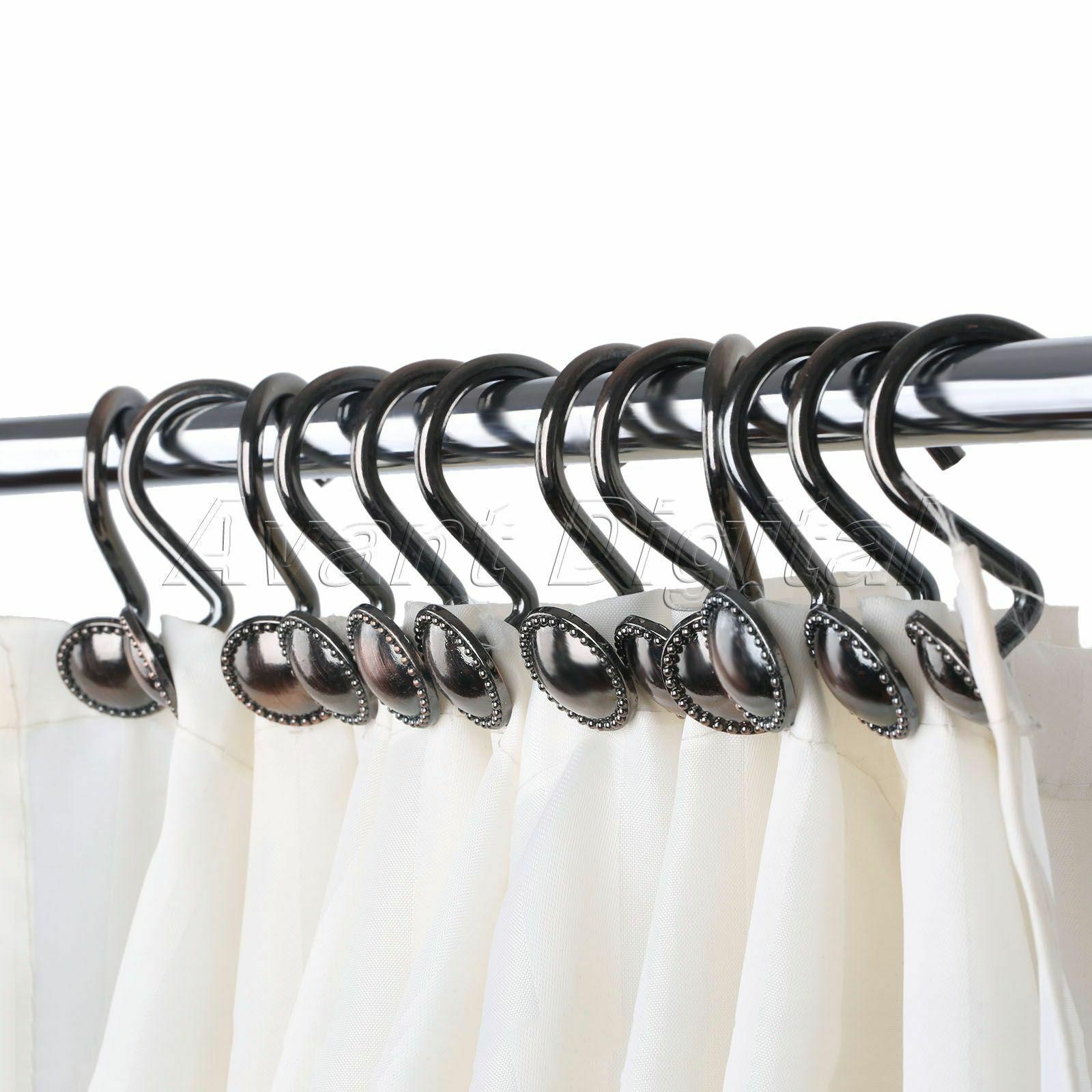 Metal Shower Curtain Hooks Vintage Shower Curtain Rings Zinc Alloy Bronze Color