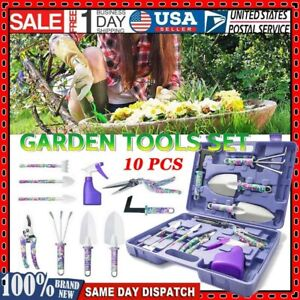 10pcs Heavy Duty Garden Tools Boxed Gardening Hand Tool Set w/ Carrying Case