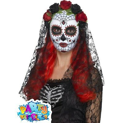 Day of the Dead Mask Halloween Sugar Skull Ladies Fancy Dress Accessory Womens