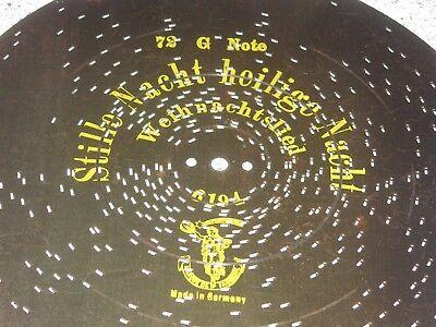 "72g Polyphon 28cm Platte Stille Nacht Heilige Nacht Antique Christmas Disc 11"""