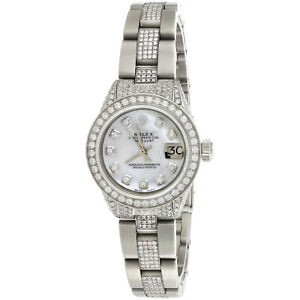 Womens Diamond Rolex 6917 DateJust White MOP Dial Watch Oyster Custom Band 5 CT