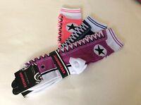 3 Pairs Ladies Novelty Sneaker Socks Pink/purple/navy Fun To Wear