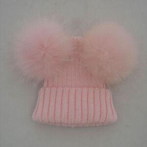 Girls-Real-Fur-Double-Pom-Hat-Winter-Warm-Knit-Bobble-Beanie-Cap-6-Colors-DL5