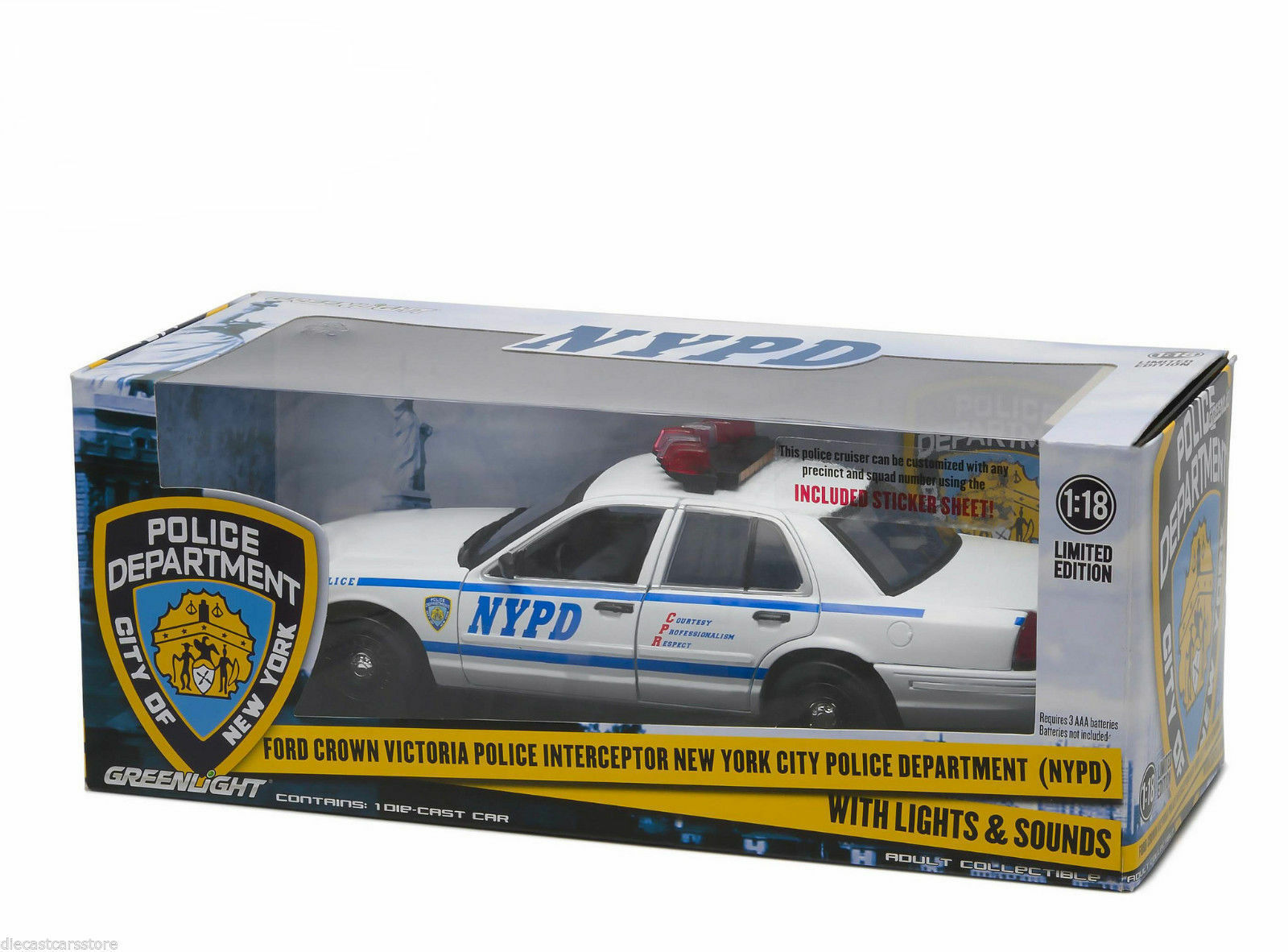 1:18 verdelight - 2001 Ford Crown Victoria Nypd Interceptor Lights & Sounds
