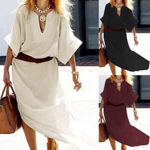 ZANZEA-Women-039-s-Low-Cut-Long-Maxi-Dress-High-Split-Casual-Summer-Shirt-Dress-Plus