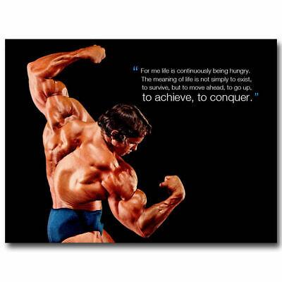 N-194 CONQUER ARNOLD SCHWARZENEGGER Bodybuilding Motivational Quote Poster24x36