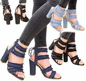 37d82143b45 Ladies Women Lace Up High Heels Ankle Strappy Denim Gladiator ...
