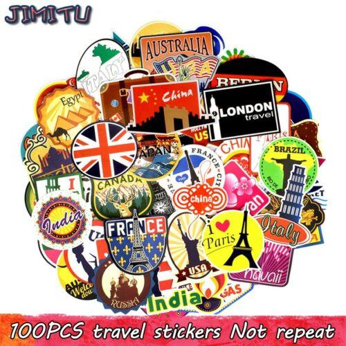 JIMITU® Stickers Retro Building Graffiti World Journey 100 PCS Travel Waterproof