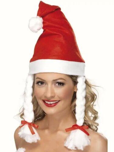 Ladies Santa Hat Pigtales Plaits Christmas Santa Helper Red Hat Adult Smiffys