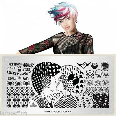 MoYou London PUNK 10 Collection Stamping Schablone, Schrift Totenkopf Blitz