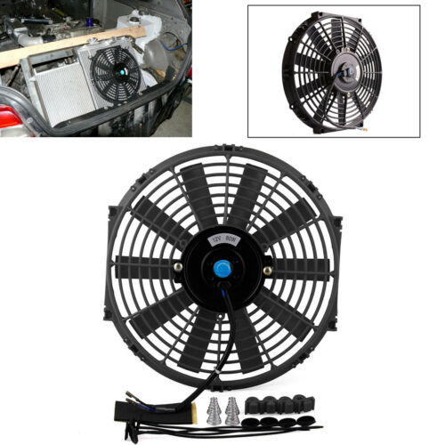 """Universal 12/""""12V 80W Car Electric Radiator Plastic Cooling Fan With Mounting Kit"""