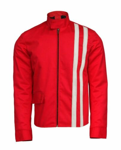 Elvis Presley Speedway Slim Fit Red Cotton with White Stripes Jacket for Men