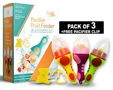 Baby Fruit Feeder Pacifier 3 Pack | Food Fresh Teething Toy Silicone Nipple for