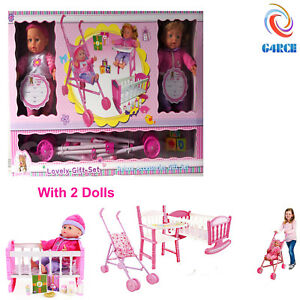 3 Piece Baby Cot Bed Stroller High Chair Pretend Doll Role Play Toy Set +2 Dolls 5051127151583