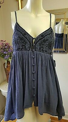BOHEMIAN Blue embroidered cami baby doll top size Medium