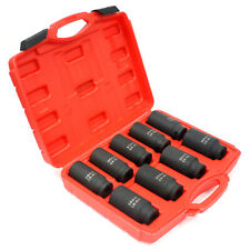 9pc Metric 12 Dr Deep Impact Spindle Axle Nut Socket Set 90mm Length 6 Point