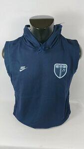 NIKE-Felpa-leggera-cappuccio-senza-maniche-Tg-M-blu-115813-con-logo-Vintage