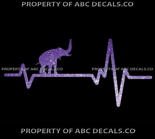 VRS Heart Beat Line ANIMAL ELEPHANT Trunk in Air Tusk Ivory CAR METAL DECAL
