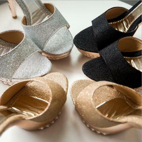 Details about  /2020 Fashion Women Platform Peep Toe Shoes High Heel Sparkly Sandals Mules Party
