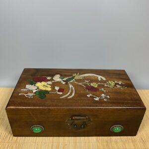 Noble Boxwood Inlay Conch flower bird Art Usable Precious woman big Jewelry Box