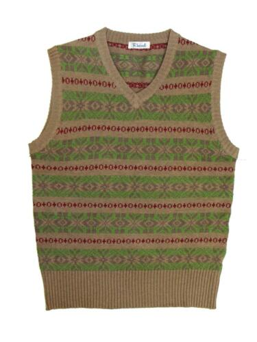 1940s Men's Shirts, Sweaters, Vests    Mens Sleeveless Sweater|1940s Vintage Style Brown & Green Fairisle Tank Top Knit £55.99 AT vintagedancer.com
