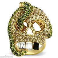 Large Skull & Snake Multi Color Crystal Stones Gold Ep Mens Ring