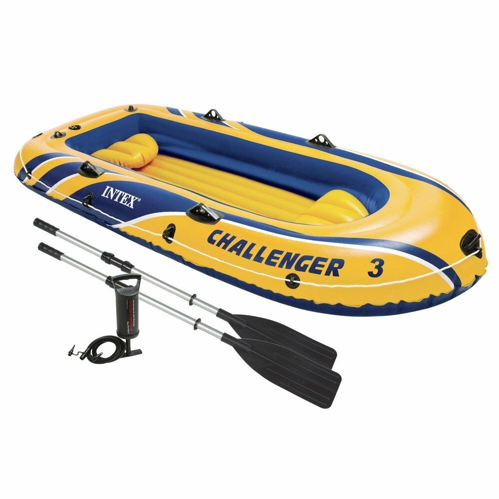Intex Challenger 3 Inflatable Raft Boat Set With Pump And Oars   68370EP