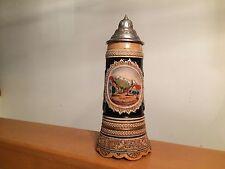 """German Musical Beer Stein 11"""" tall Pewter Lidded Mug Western Germany"""
