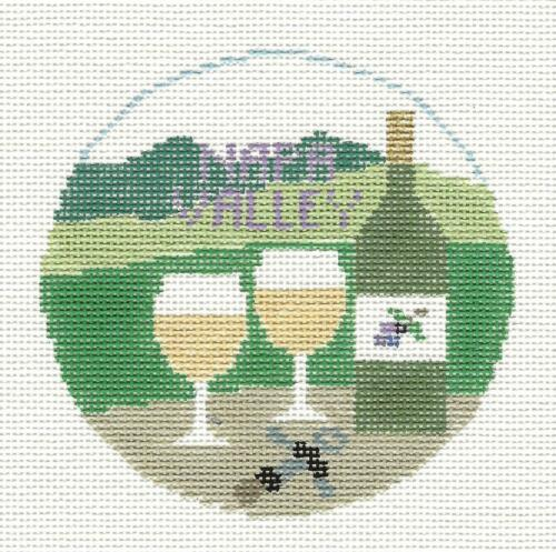 NAPA VALLEY in CALIFORNIA ~ handpainted Needlepoint Canvas by Kathy Schenkel RD.