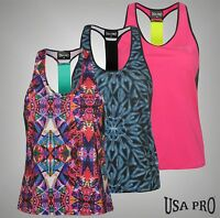 Ladies Branded USA Pro Sleeveless Sports Muscle Back Training Vest Top Size 8-16