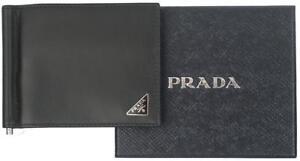 684ab99f9f09b0 NEW PRADA BLACK CALF LEATHER LOGO CREDIT CARD CASE MONEY CLIP BI ...