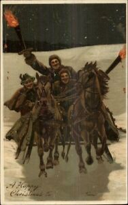 Christmas-Group-on-Horse-Sleigh-w-Torches-c1910-Postcard-Nice-Details