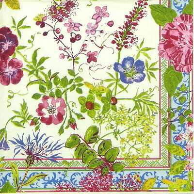 4x Single Table Party Paper Napkins for Decoupage Decopatch Craft Millefleuers