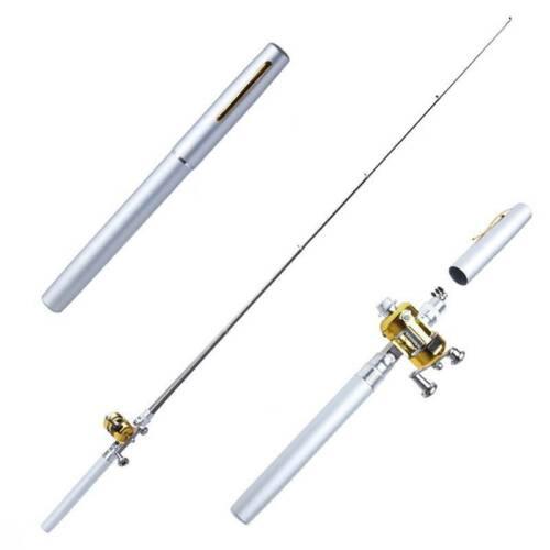 Portable Mini Pocket Fishing Rod Pen Shaped Aluminum Alloy Fish Rod Pole Reel
