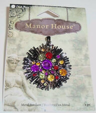 Manor House Crystal BURST pendant - jeweled crystals on silver 1.5 in diameter