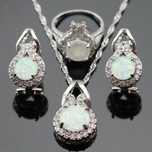 Beetle White Opal Jewelry Set Women 925 Silver Necklace