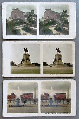 3 Alte Stereofotos 9x18 - Rom Um 1900 Kapitol, Vatikan, Garibaldi Coloriert