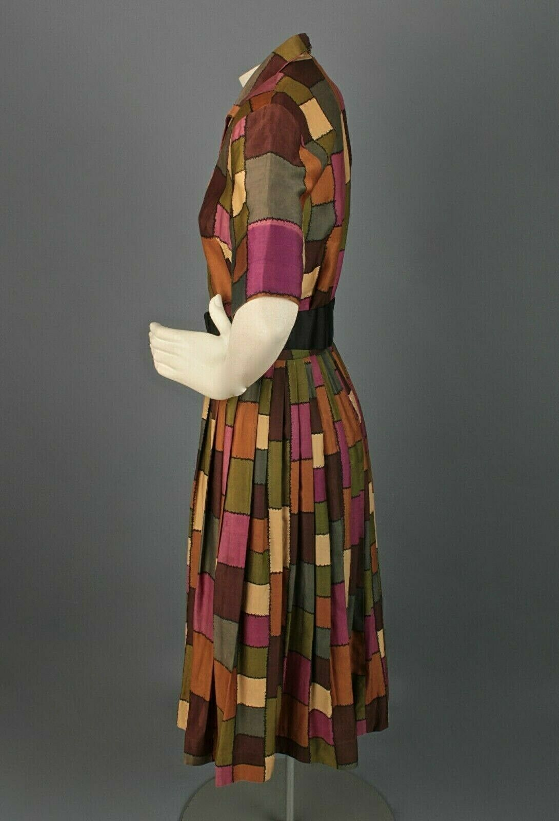 VTG Women's 50s 60s Patchwork Print Shirtwaist Dr… - image 2