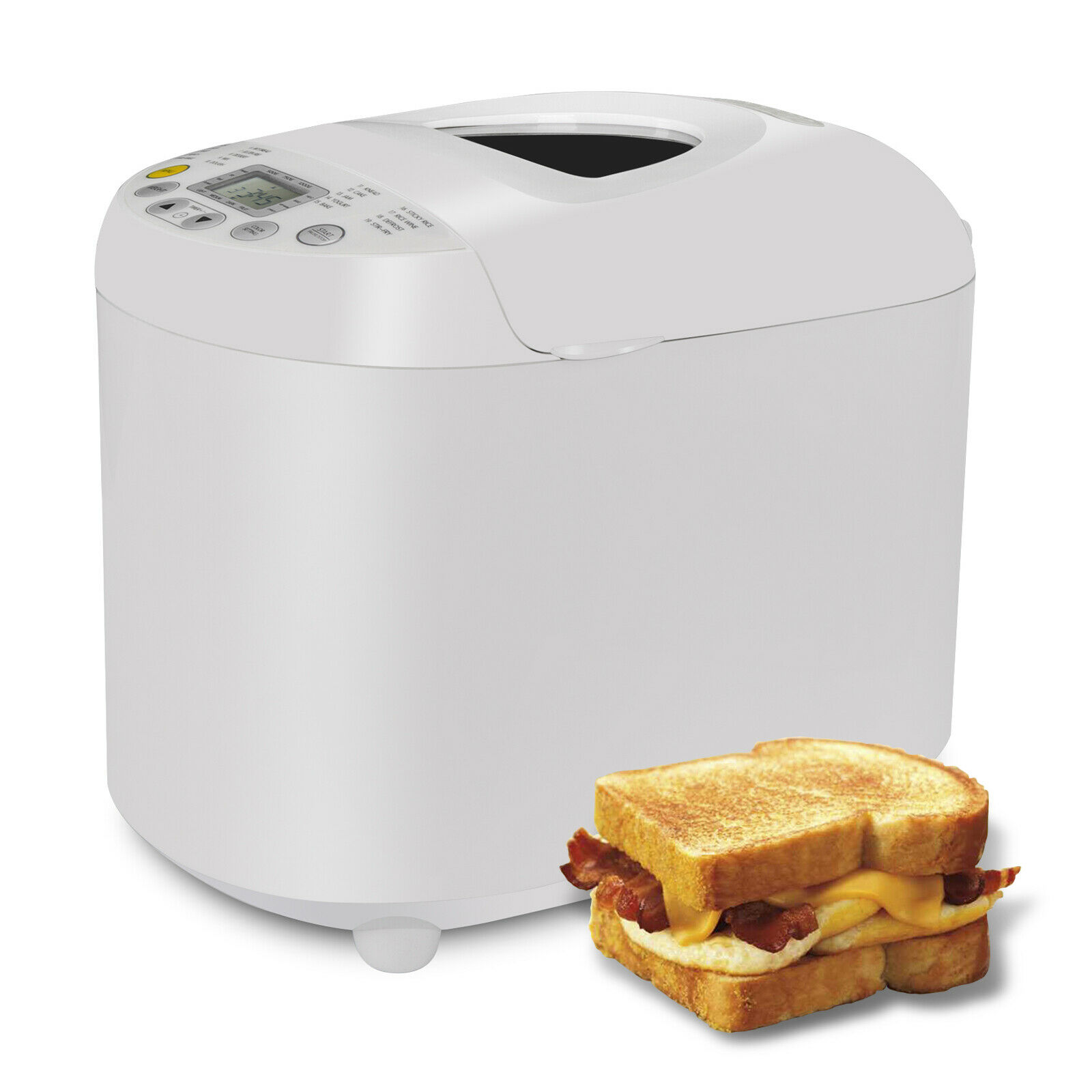 3 Loaf Sizes and 3 Crust Color Bread Maker Machine 550W 2.2 lbs W/ Top Window 16
