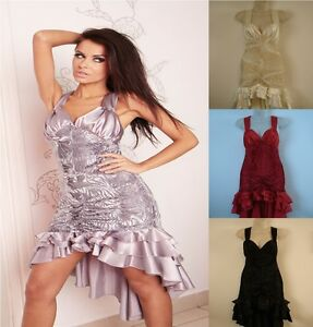 Ladies-Women-Bridesmaid-Sexy-Mini-Party-Clubbing-Dress-Wedding-Evening-8-18