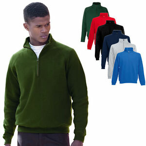 Fruit-of-the-Loom-Zip-Neck-Stehkragen-Sweatshirt-I-S-M-L-XL-XXL