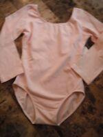 Girl Large 12/14 Motionwear Pink Leotard Dance Gymnastics Long Sleeve Lined