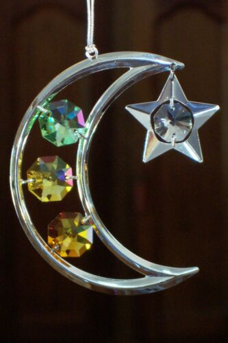 SILVER MOON AND STARS CHRISTMAS ORNAMENT WITH MULTICOLORED CRYSTALS