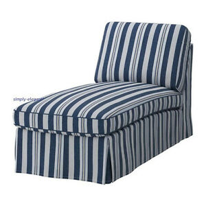 Ikea ektorp cover for chaise lounge ektorp slipcover abyn blue nautical striped ebay - Ikea chaise lounge cover ...